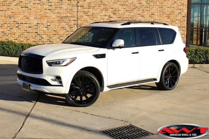 2020 White Infiniti QX80 chrome delete black out 24x10 Koko Kuture Kapan wheels black 305/35R24 Nitto 420V tires