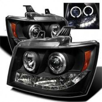 Projector Headlights - LED Halo - LED - Black - High H1 - Low H1