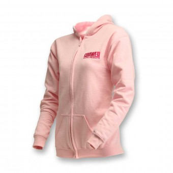 HOODY PINK ZIP FRONT W/ CROWER LOGO (YOUTH LARGE)