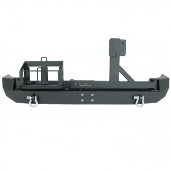 Rear Bumper w/ Tire Carrier and Gas Can Mount Black
