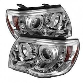 Projector Headlights - CCFL Halo - LED - Chrome - High H1 - Low H1