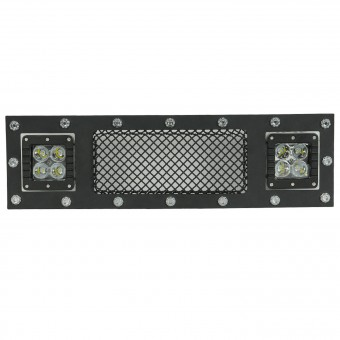 Evolution Stainless Steel Wire Mesh Cutout Bumper Grille Black w/ LED
