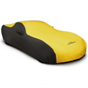 CUSTOM VEHICLE COVER STORMPROOF (TM) 2-TONE BLACK SIDES YELLOW CENTER CLASS 1, H