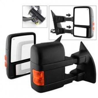 Manual Extendable - POWER Heated Adjust Mirror with LED Signal Amber.