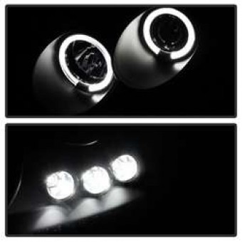 Projector Headlights - LED Halo - LED - Black Smoke - High H1 - Low H1