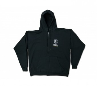 Basic Logo Full Zip Hoodie Sweatshirt-Men's Black