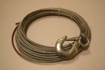 """Wire Rope, 15001 5/32"""" x 50' (4mm x 15.2m) - includes hook"""