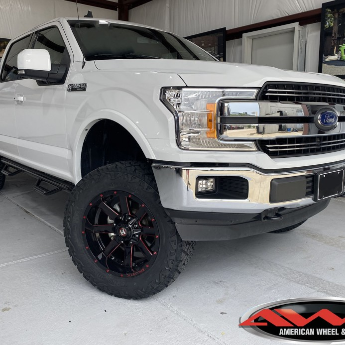 "2020 Ford f-150 6″ Rough Country lift 20"" Ballistic Offroad ""Rage"" wheels in gloss black with red milled windows 35"" tires"