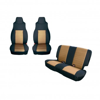 Seat Cover Kit, Black/Tan; 03-06 Jeep Wrangler TJ