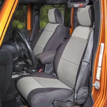 Seat Cover Kit, Black/Gray; 07-10 Jeep Wrangler Unlimited JKU, 4 Door