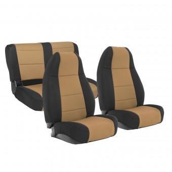 Smittybilt NEOPRENE SEAT COVER SET FRONT/REAR - TAN JEEP, 76-90 CJ/YJ 471025