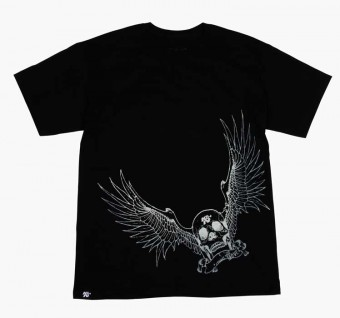 T-Shirt; Winged Racing Skull, Black