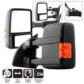 L&R Manual Extendable - Manual Adjust Mirror with LED Signal Amber - SET