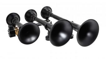 Black massive triple train horn w/ detachable XCR 2.0 black spun steel trumpets