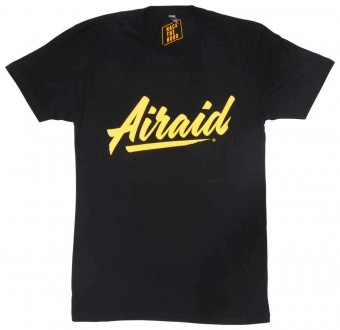 T-Shirt; Black, Gold Airaid Logo, Large