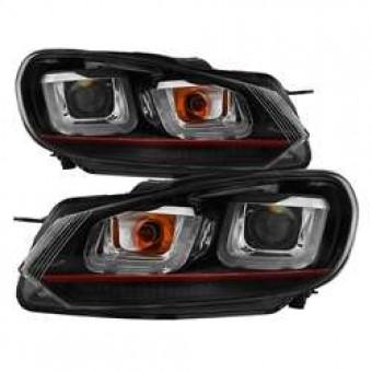 Projector Headlights - Halogen - Dual U DRL - Black