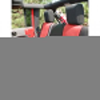 Neoprene Rear Seat Cover, Black/Red; 07-16 Jeep Wrangler JKU