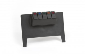 Dash/Switch Panel; Black; Lower; Incl. 4 Rocker Switches; 1 Red; 1 Blue; 1 Amber; 1 Green;