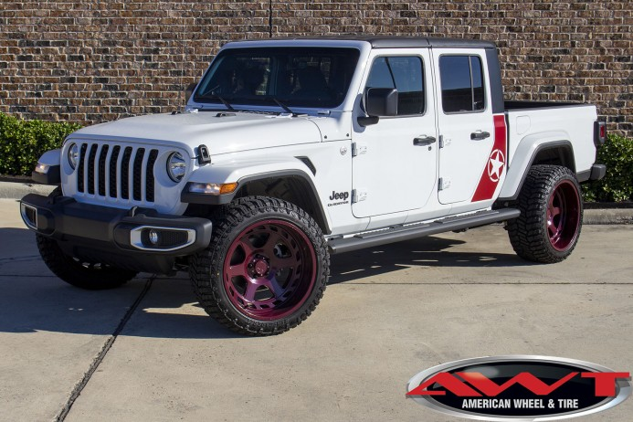 2020 White JT Gladiator front angle 22×12Asanti Off-Road Anvilwheels 33x12.50R22Radar Renegade R/Ttires Vinyl graphics