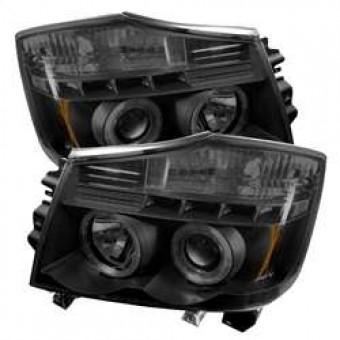 Projector Headlights - LED Halo - LED - Black Smoke - High H1