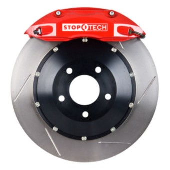 StopTech Big Brake Kit; Black Caliper, Slotted Two-Piece Rotor, Front
