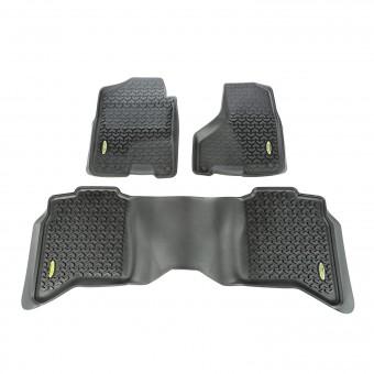 Floor Liners, Front/Rear, Black; 09-16 Ram 1500-3500 Crew Cab